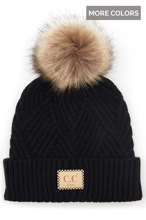 Picture of Youth Diagonal CC Pom Beanie